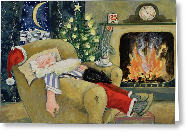 Santa Sleeping By The Fire Greeting Card by David Cooke