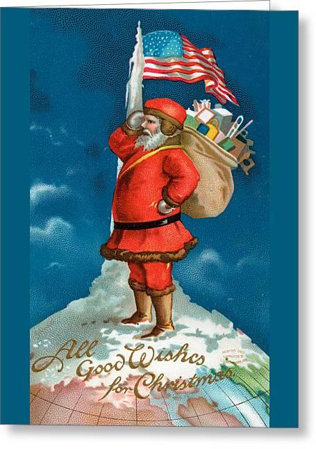 Santa Standing On The Globe Greeting Card by American School