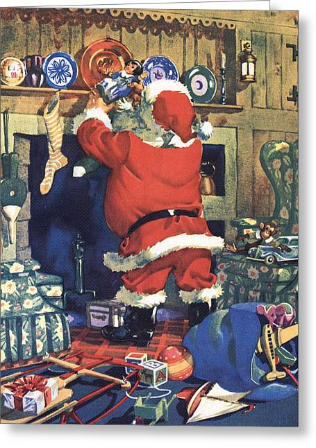 Santa Stuffing Stockings With Toys On Christmas Eve Greeting Card