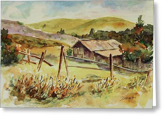 Greeting Card featuring the painting Santa Teresa County Park California Landscape 4 by Xueling Zou