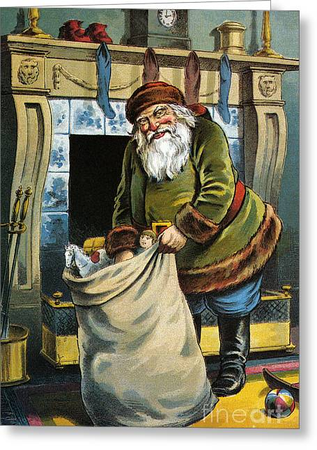 Santa Unpacks His Bag Of Toys On Christmas Eve Greeting Card