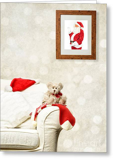 Santa Watching Teddy Greeting Card by Amanda Elwell
