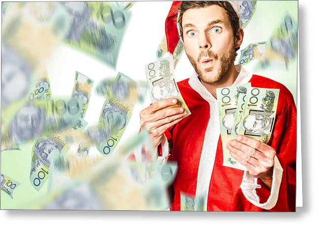 Santa With Australian Money At Christmas Sales Greeting Card by Jorgo Photography - Wall Art Gallery