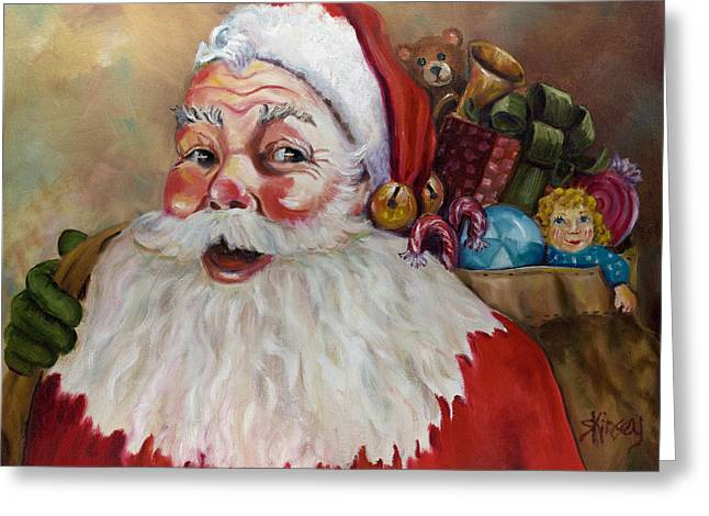 Santa With Bag Of Toys Greeting Card by Sheila Kinsey