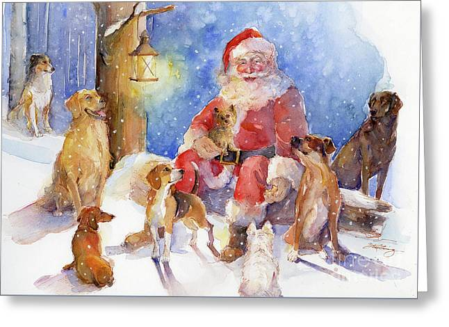 Santa With Dogs Greeting Card