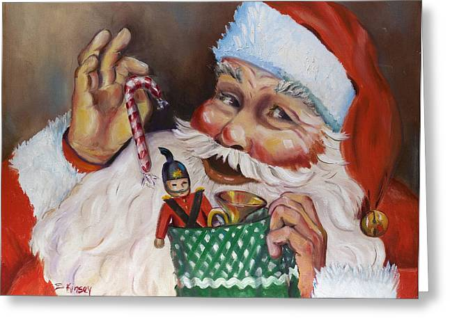 Santa With Stocking Greeting Card by Sheila Kinsey