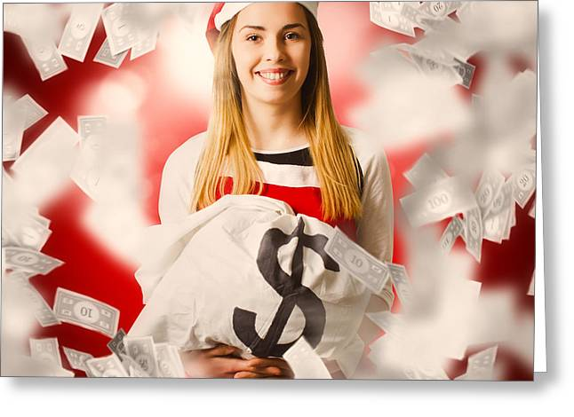 Santa Woman Celebrating A Money Bag Win Greeting Card