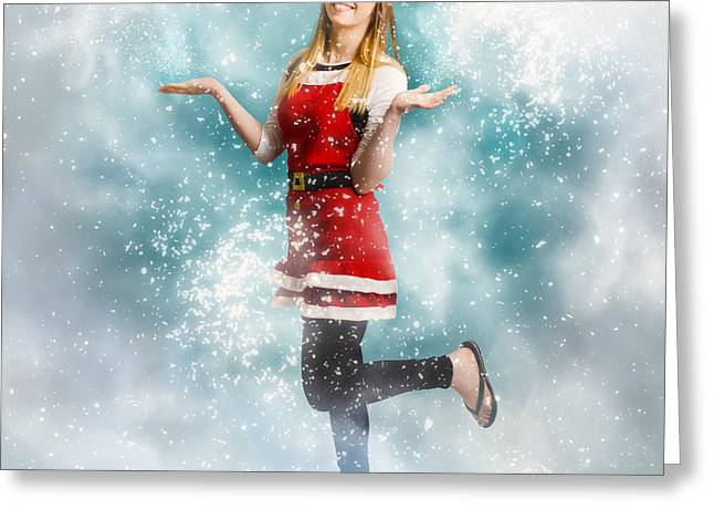 Santa Woman Playing In Magic Christmas Snow Greeting Card by Jorgo Photography - Wall Art Gallery