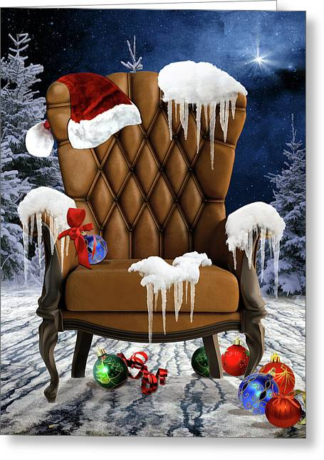 Santa's Chair Greeting Card by Mihaela Pater