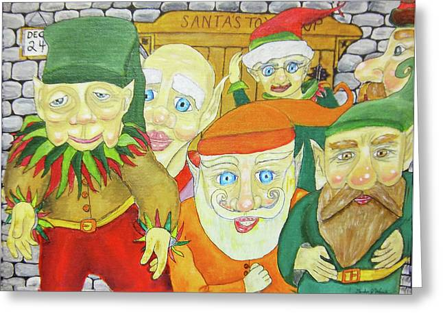 Santas Elves Greeting Card by Gordon Wendling