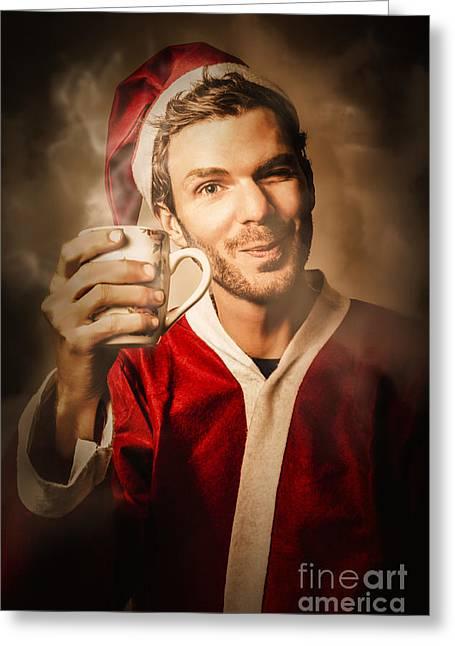 Santas Helper Drinking Hot Christmas Coffee Greeting Card