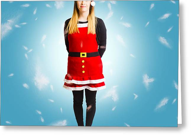Santas Helper In Blue Christmas Snow Greeting Card by Jorgo Photography - Wall Art Gallery