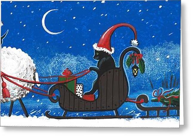 Santas Helpers Greeting Card by Margaryta Yermolayeva