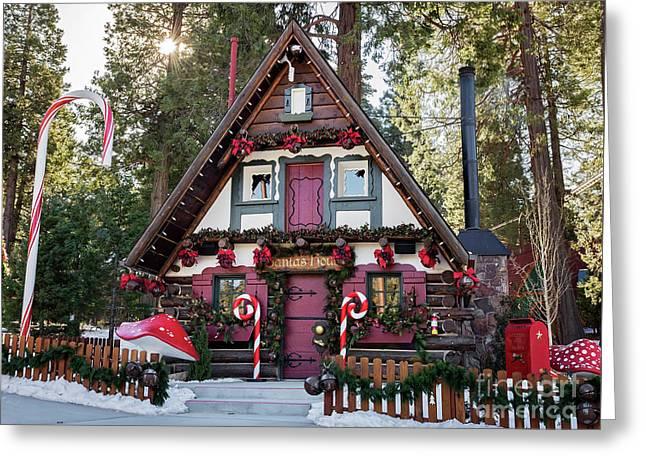 Santa's House Greeting Card by Eddie Yerkish