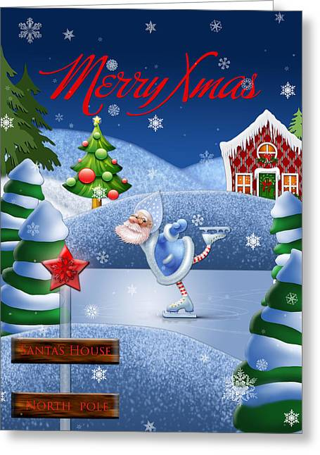 Santa's House - North Pole English Text  Greeting Card by Maggie Terlecki