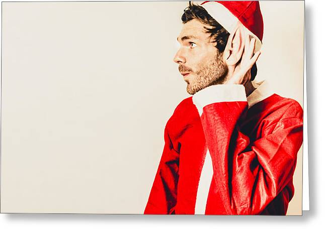 Greeting Card featuring the photograph Santas Little Helper Listening To Christmas Orders by Jorgo Photography - Wall Art Gallery