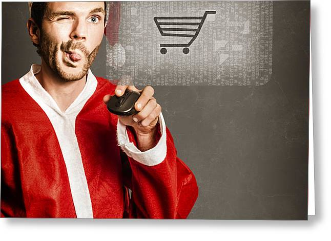 Santas Little Helper Shopping Online Greeting Card by Jorgo Photography - Wall Art Gallery