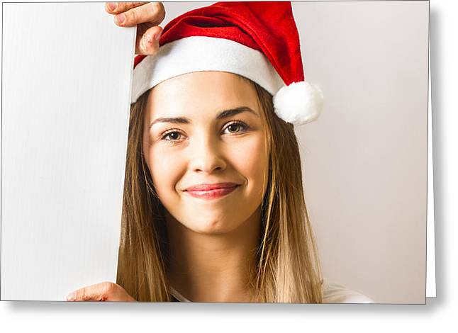 Santas Little Helper Showing Blank Christmas Sign Greeting Card by Jorgo Photography - Wall Art Gallery