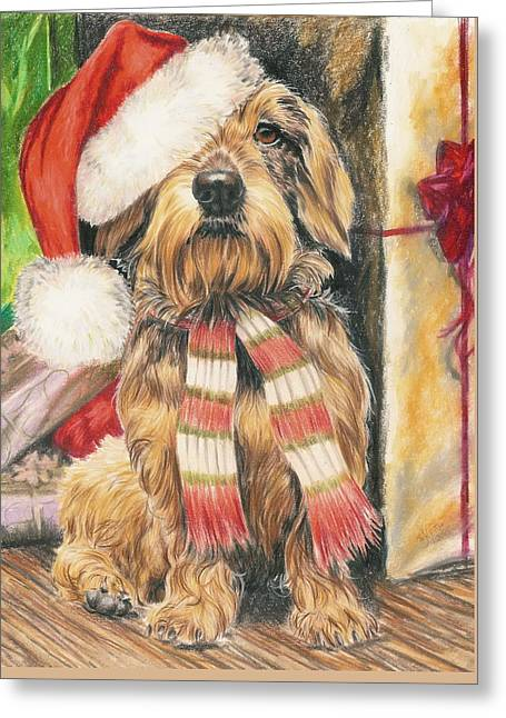 Greeting Card featuring the drawing Santas Little Yelper by Barbara Keith