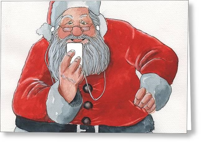 Santa's New Ipod Greeting Card by Don Pedicini