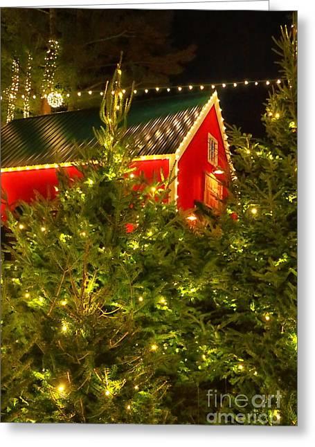 Santa's Red Barn Greeting Card by Elizabeth Dow