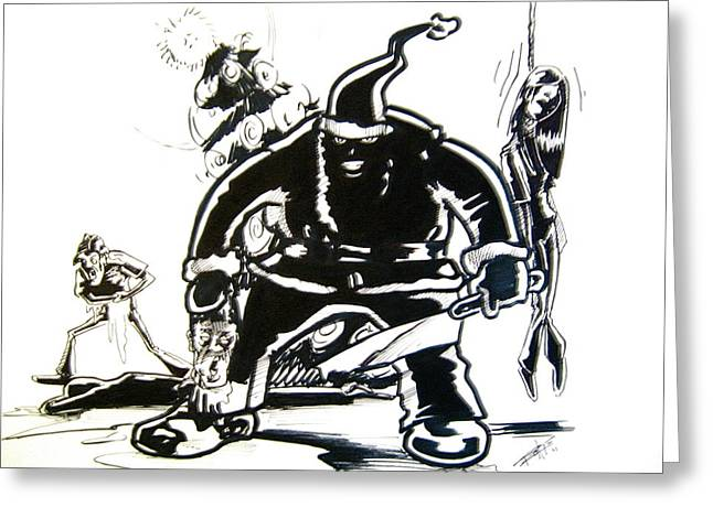 Anger Drawings Greeting Cards - Santas Slay Greeting Card by Big Mike Roate