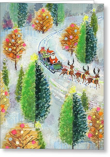 Santa's Sleigh Greeting Card by David Cooke