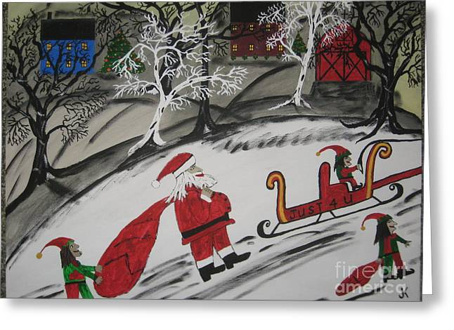 Greeting Card featuring the painting Santa's Work Is Done  by Jeffrey Koss