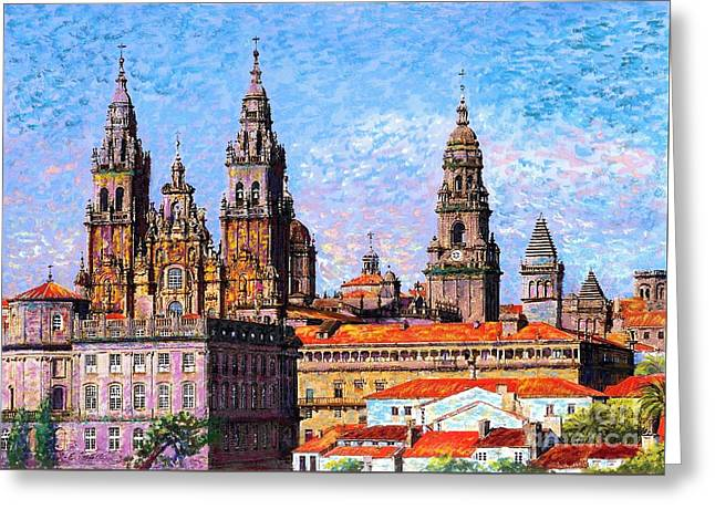 Greeting Card featuring the painting Santiago De Compostela, Cathedral, Spain by Jane Small