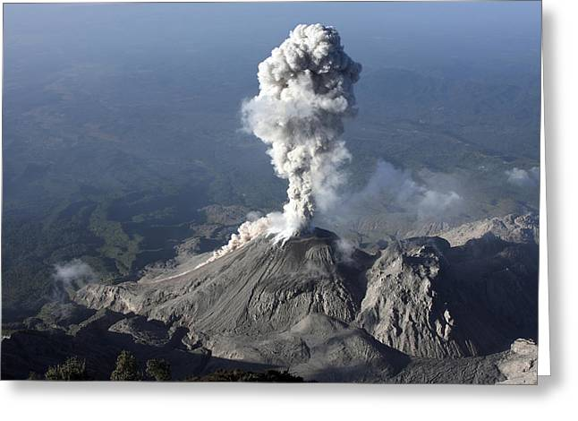 Incline Greeting Cards - Santiaguito Ash Eruption, Guatemala Greeting Card by Martin Rietze