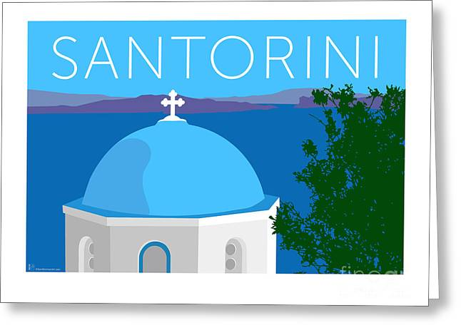 Greeting Card featuring the digital art Santorini Dome - Blue by Sam Brennan