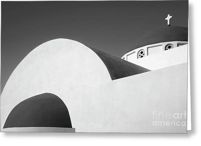 Santorini Chapel 1 Greeting Card by Rod McLean