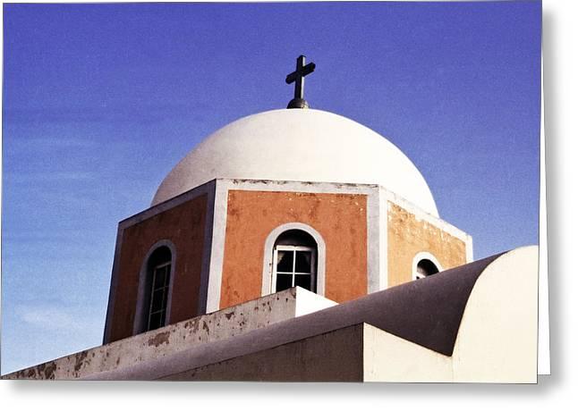Santorini Church Greeting Card by Andrew Soundarajan