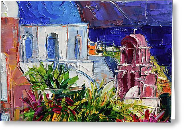Santorini Church - Mini Cityscape 01 - Modern Impressionist Palette Knife Oil Painting Greeting Card