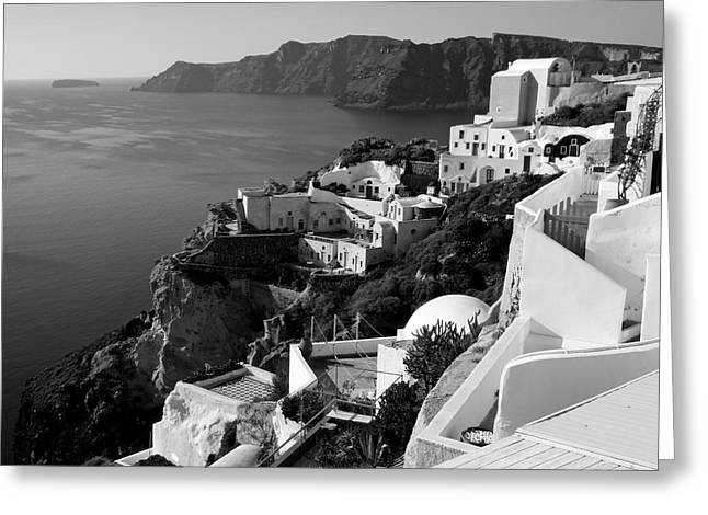 Santorini Cliffs In Black And White Greeting Card by Lucinda Walter