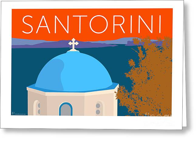 Greeting Card featuring the digital art Santorini Dome - Orange by Sam Brennan