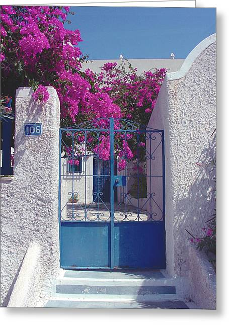 Santorini Fuchsia Greeting Card