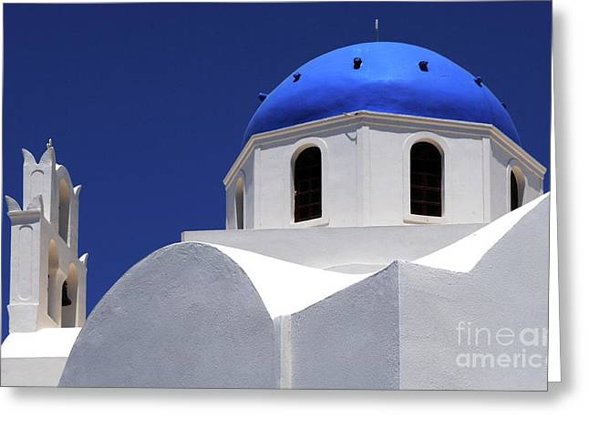 Santorini Greece Architectual Line 2 Greeting Card by Bob Christopher