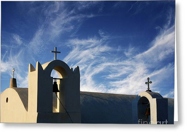 Santorini Greece Architectual Line 3 Greeting Card by Bob Christopher