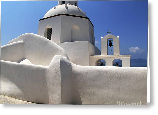 Santorini Greece Architectual Line 4 Greeting Card by Bob Christopher