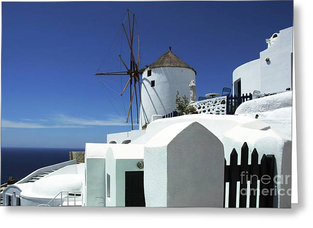 Santorini Greece Architectual Line 5 Greeting Card by Bob Christopher