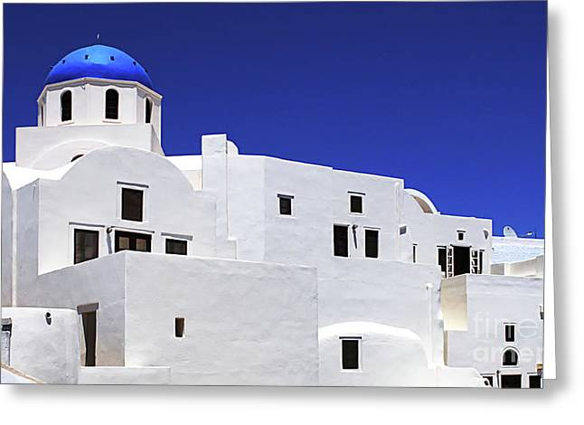 Santorini Greece Architectual Line 6 Greeting Card by Bob Christopher
