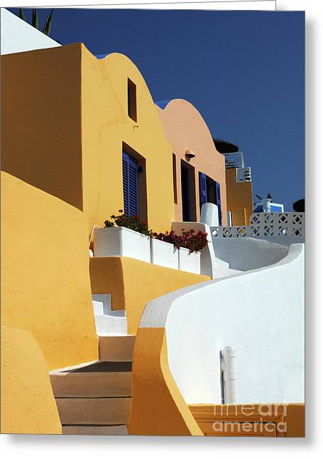 Greeting Card featuring the photograph Santorini Greece Architectual Line by Bob Christopher