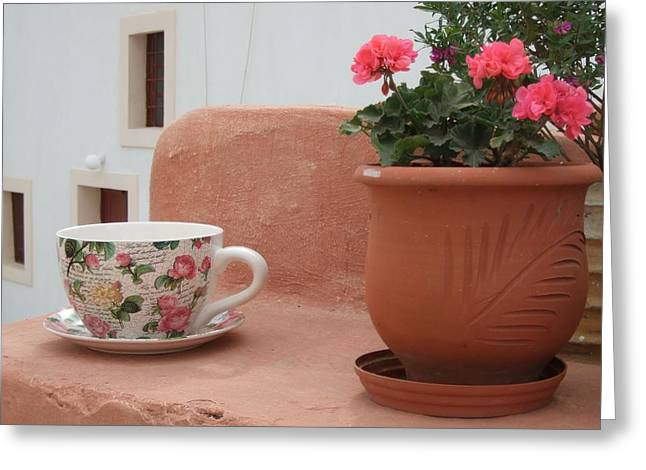 Santorini Greece Cafe Teacup And Flowerpot Greeting Card by Nikki Bordon
