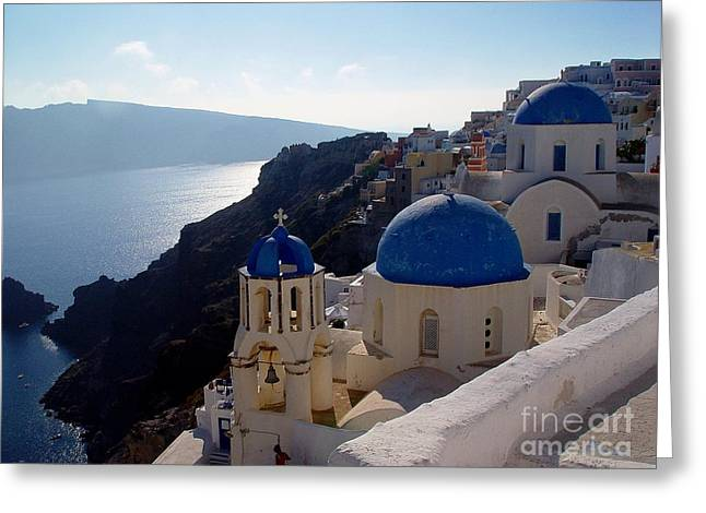 Santorini Greece Greeting Card by Nancy Bradley