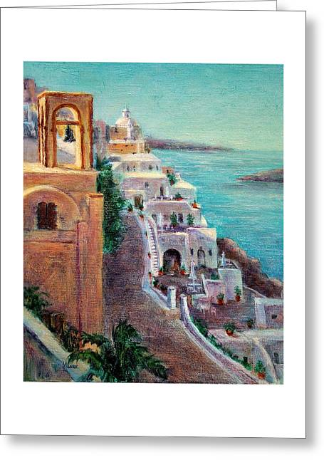 Hotels Of Santorini Greeting Card by Jill Musser