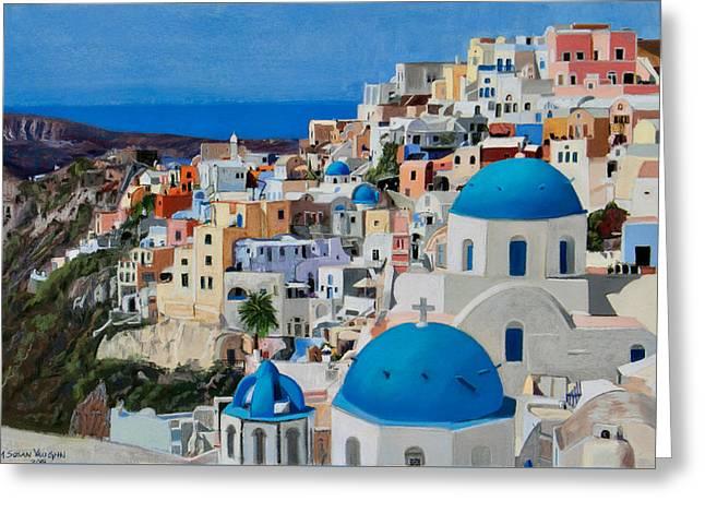 Santorini Greeting Card by Mary Susan Vaughn