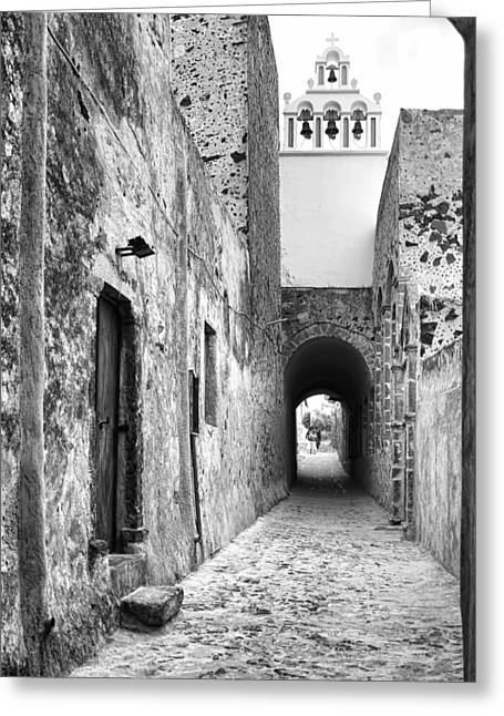 Santorini Passageway Bw Greeting Card by Phyllis Taylor