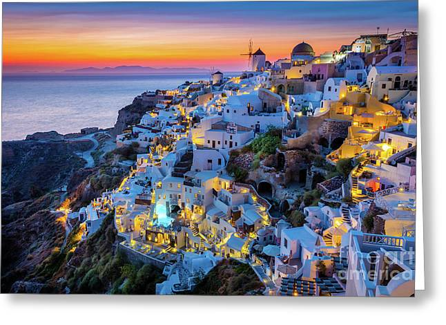 Santorini Sunset Greeting Card