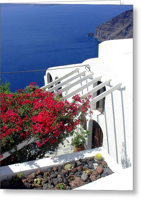 Julie Palencia Greeting Cards - Santorini Villa  Greeting Card by Julie Palencia